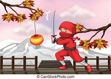 Un ninja rojo con una espada en el puente de madera