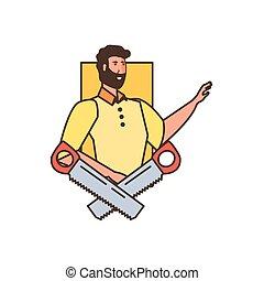 Un obrero con herramientas de sierra