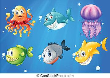Un océano profundo con criaturas sonrientes