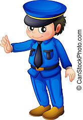 Un oficial de policía con un informe azul completo