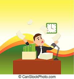Un oficinista confuso sentado en el escritorio lleno de carpetas y un montón de papel mirando el reloj de pared y entendiendo que no cumple con la fecha límite