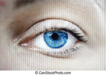 Un ojo de mujer abstracto hecho de puntos
