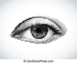 Un ojo de mujer abstracto hecho de puntos. Vector