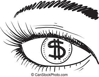 Un ojo por un boceto de dinero