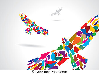 Un pájaro abstracto colorido volando