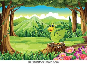 Un pájaro verde sobre el tocón del bosque