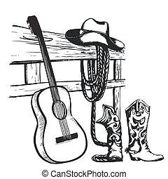 Un póster antiguo con ropa de vaquero y guitarra musical