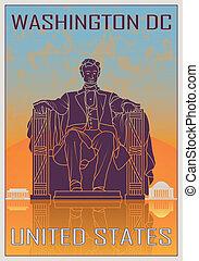 Un póster antiguo de Washington DC