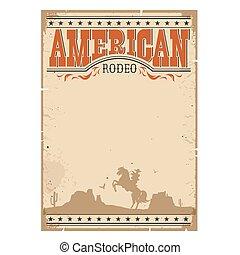 Un póster clásico de vaqueros. Papel occidental con un hombre montando a caballo