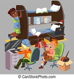 Un póster colorido de la habitación de los chicos. Estudiantes universitarios viviendo juntos en el dormitorio ilustrando vectores