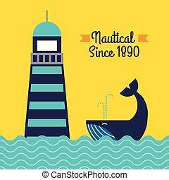 Un póster de ballenas marinas de faro náutico