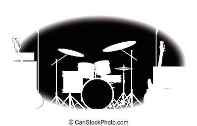 Un póster de banda de rock blanco y negro