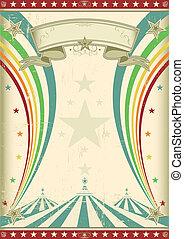 Un póster de circo arco iris