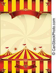 Un póster de circo rojo y amarillo