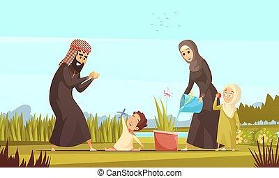 Un póster de dibujos animados de la vida familiar árabe