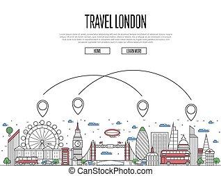 Un póster de Londres en estilo lineal