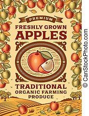 Un póster de manzanas Retro