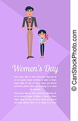 Un póster de mujeres con padre e hijo