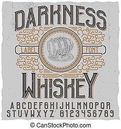 Un póster de whisky oscuro