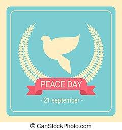 Un póster retro de paloma blanca del día de la paz mundial