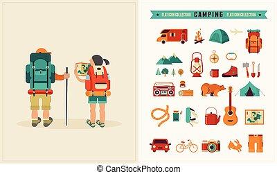 Un póster vintage de Vector con un par de mochileros y un par de iconos