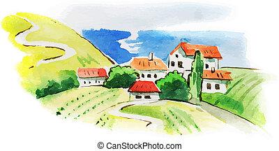Un paisaje acuarela pintado