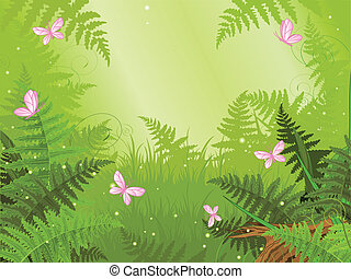 Un paisaje de bosque mágico
