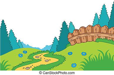 Un paisaje de campo cartón