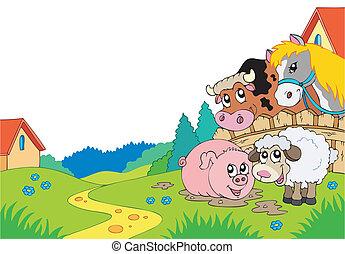 Un paisaje de campo con animales de granja