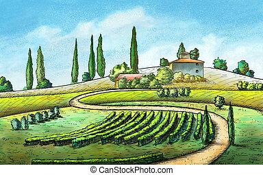 Un paisaje de campo