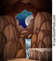 Un paisaje de cueva natural