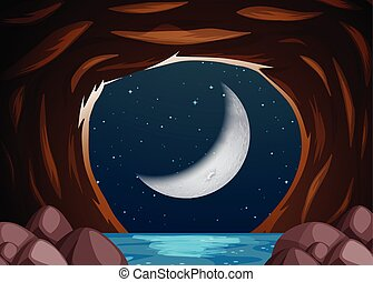 Un paisaje de cuevas de agua por la noche