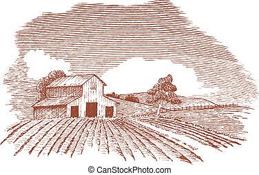Un paisaje de granja con establo