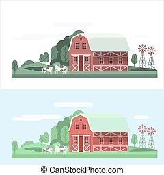 Un paisaje de granja