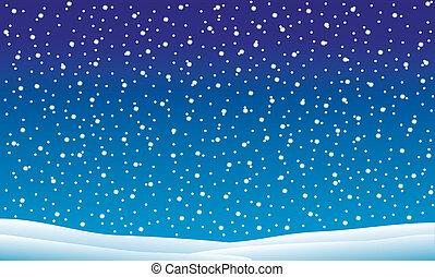 Un paisaje de invierno con nieve cayendo