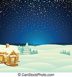 Un paisaje de invierno. Ilustración del vector de cartón