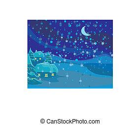 Un paisaje de invierno, una escena de Navidad