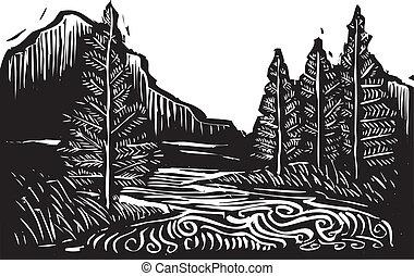 Un paisaje de madera