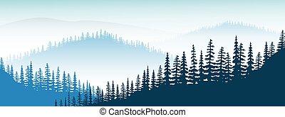 Un paisaje de montaña. Crepúsculo, montañas lejanas, valles, colinas, bosques, niebla, abetos