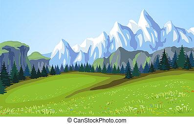 Un paisaje de montaña.