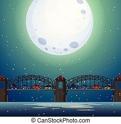 Un paisaje de puente por la noche