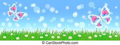 Un paisaje de verano con mariposas, flores de pradera y hierba verde