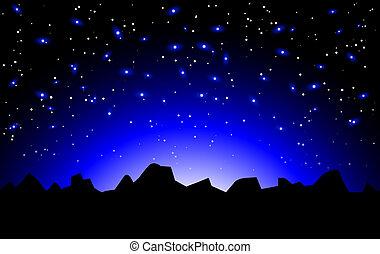 Un paisaje espacial nocturno vector