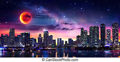 Un paisaje fantástico de Miami en el centro con leche y luna roja