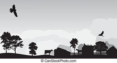 Un paisaje gris con árboles y pueblo