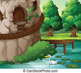 Un paisaje hermoso con un pato