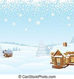 Un paisaje invernal de día nevado. Ilustración de vectores