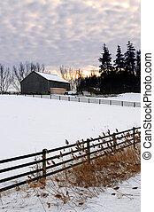 Un paisaje invernal rural