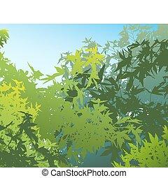 Un paisaje pintoresco del follaje de verano, ilustración del vector, los diferentes gráficos están en capas separadas para que puedan fácilmente ser movidos o editados individualmente