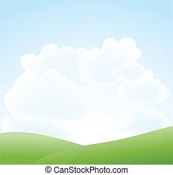 Un paisaje primaveral con cielo y nubes